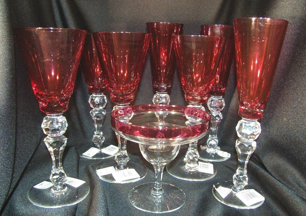 8 Piece Cranberry/Clear Crystal Stemware