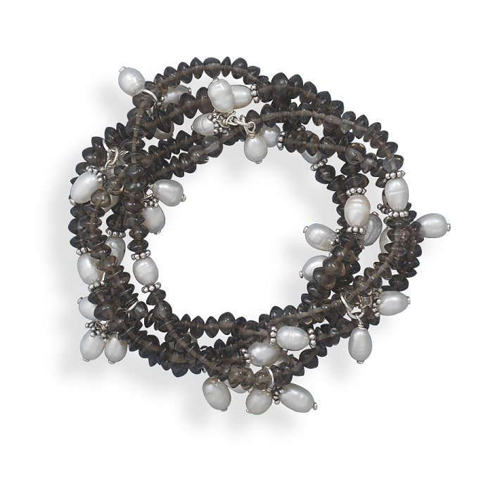 4 Smoky Quartz and Cultured Freshwater Pearl Stretch