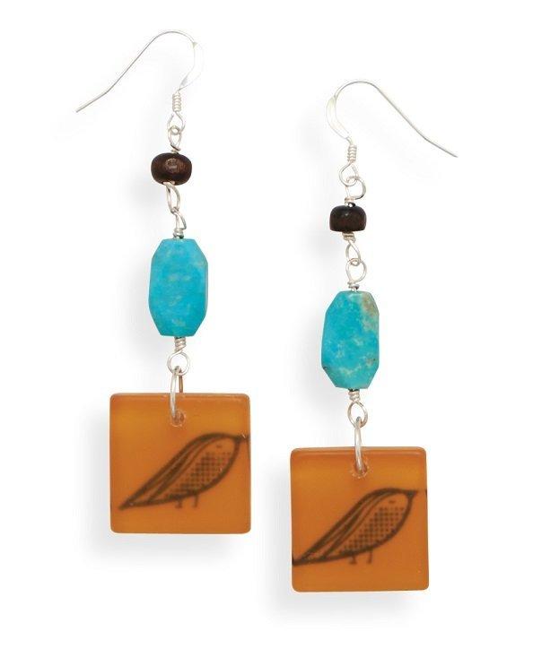 Turquoise Earrings with Bird Bead Drop