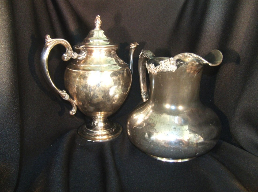 Beautiful 2 Piece Silver plate Teapot and Ewer