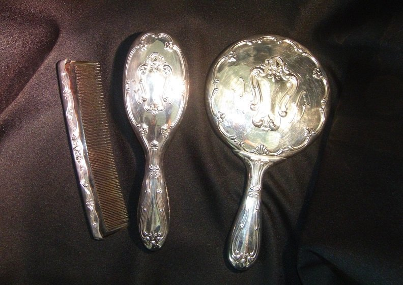 Three Piece Vintage Silver Plate Vanity Set