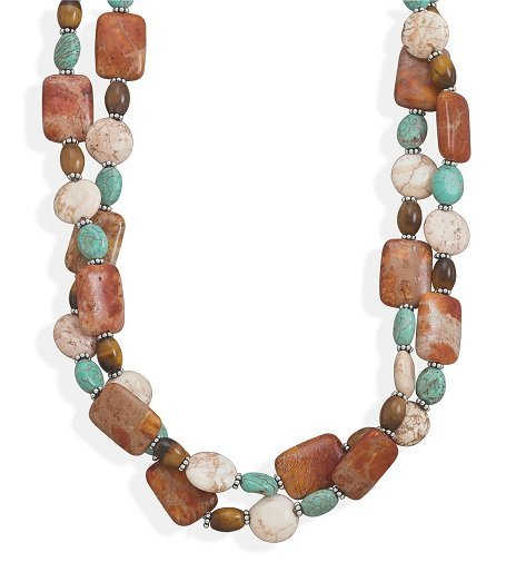 "16""+2"" Double Strand Multistone Necklace"