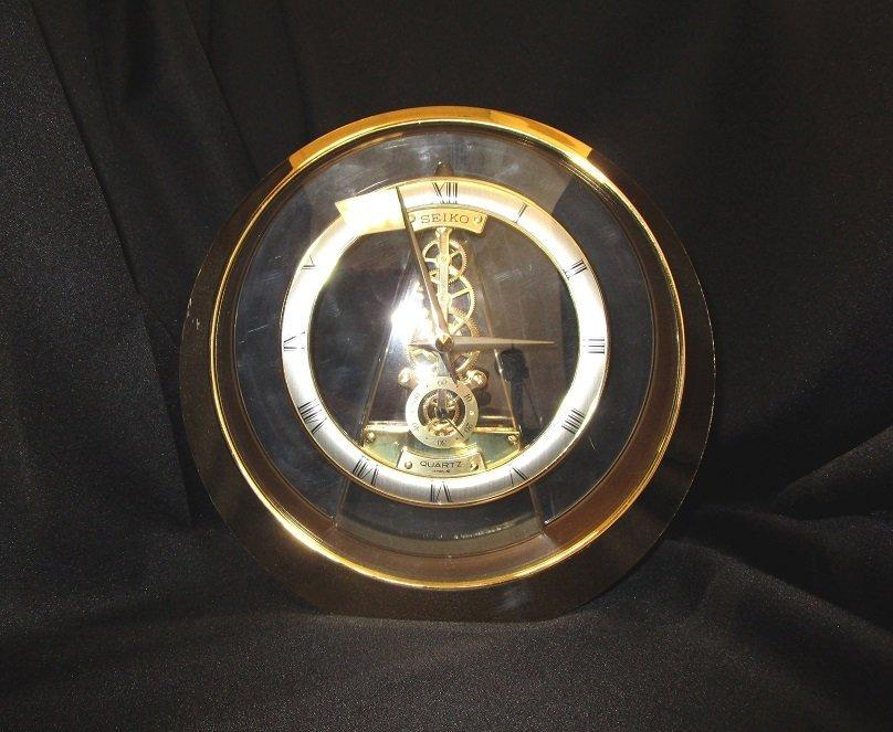 Seiko Brass & Glass Clock