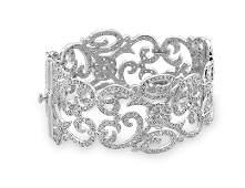 Rhodium Plated Vintage CZ Hinged Bracelet