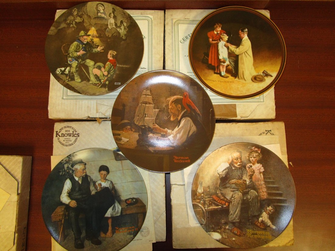 Set of 5 Norman Rockwell Collector Plates
