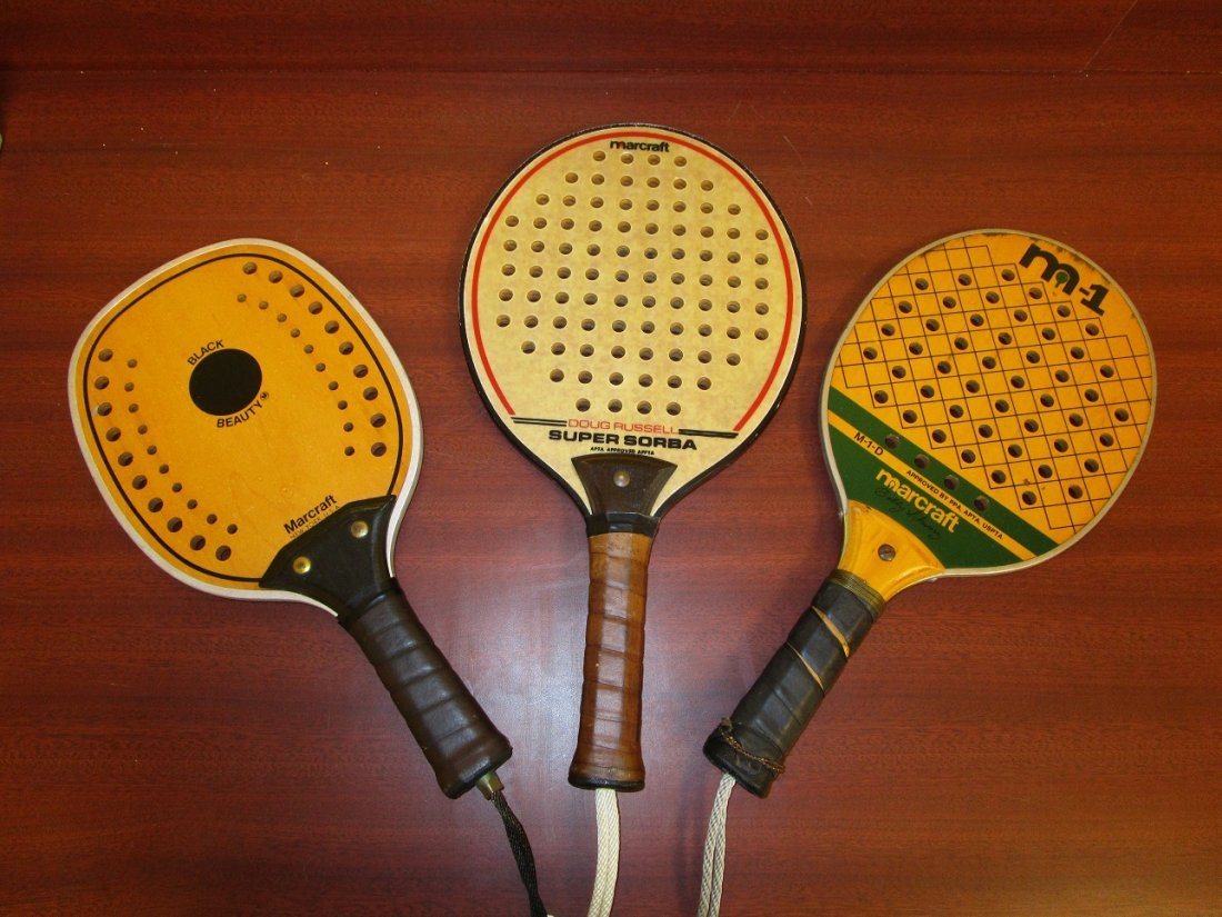 3 Antique Raquet Ball Raquets