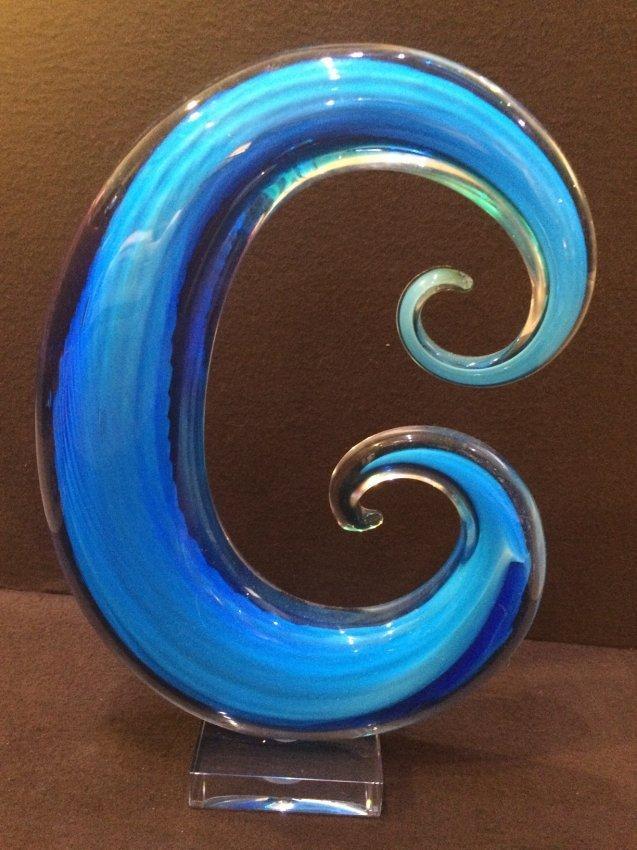 Murano Blue Swirl Glass Abstract