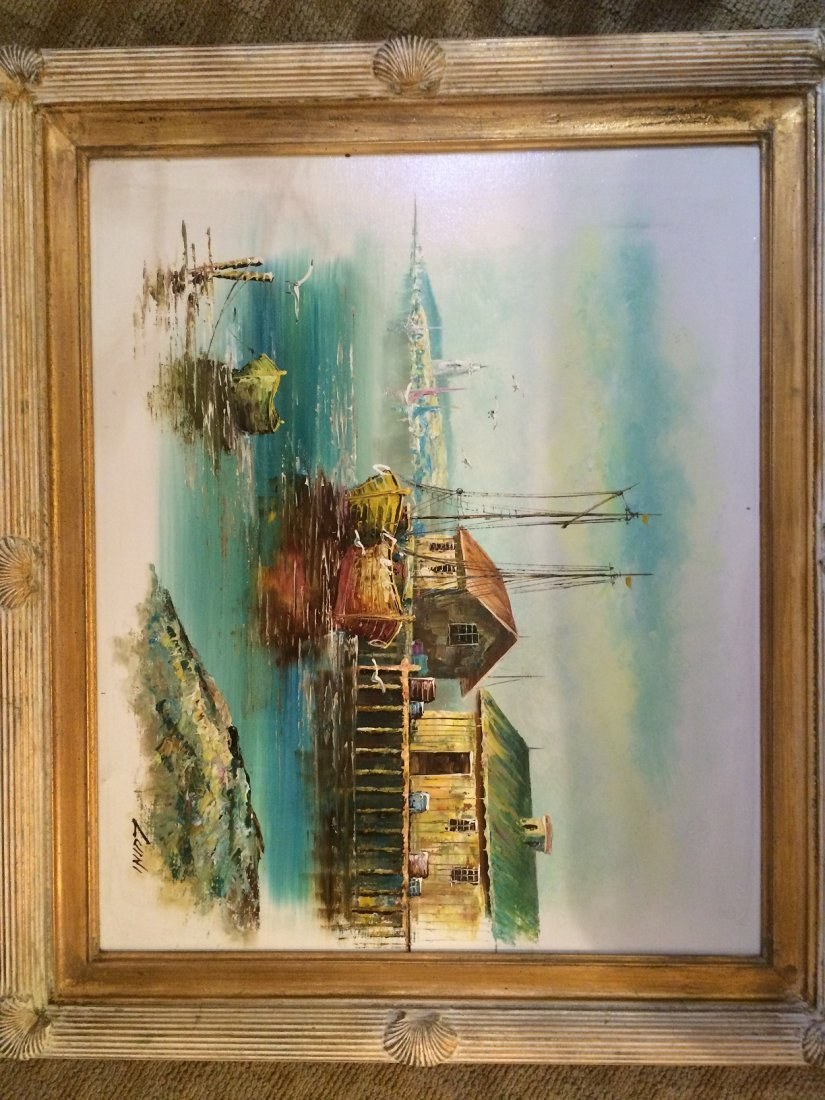 Luini Framed signed Oil Harbour Large