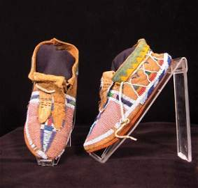 146: 19th C. Crow Fully Beaded Moccasins