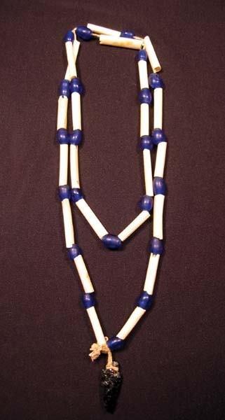 10: Cobalt Blue & White Bone Necklace