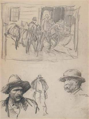 W.H.D. Koerner 10 x 8 pencil drawing