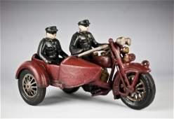 Hubley cast iron Indian/Harley police motocycle car