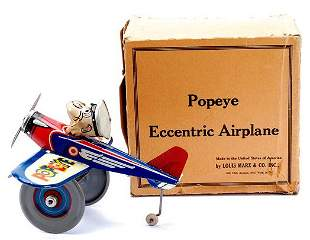 Marx Popeye the Pilot Eccentric Airplane with Box