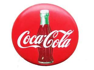 Original Porcelain Coca Cola Button Sign