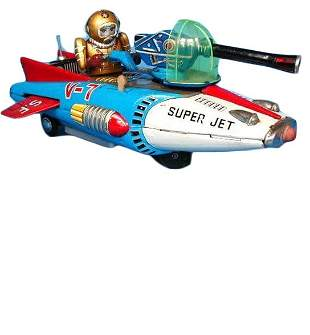 Tin Super Jet Space Fighter Battery-Op Toy