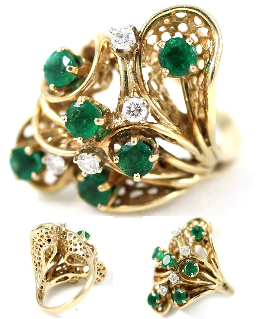 14kt Gold 1.30ct Diamond and Emerald Ring.