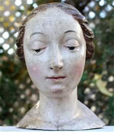18th Century German Carved Wood Polychrome Madonna Head
