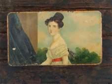 Early 19c Folk Art Portrait Painting Snuff Box