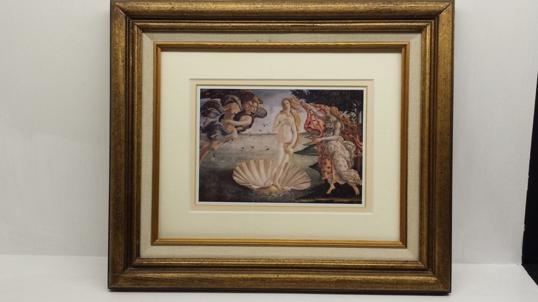 GOLD FRAMED AND WHITE TAPESTRY PRINTED PORTRAIT