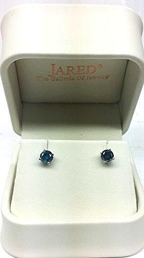 GIA CERTIFIED 1CT. ROUND CUT BLUE DIAMOND EARRINGS