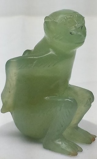 ANTIQUE CHINESE CARVED JADE SEATED MONKEY FIGURE