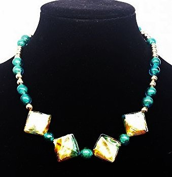 DESIGNER 14K YELLOW GOLD AND GLASS BEADED NECKLACE