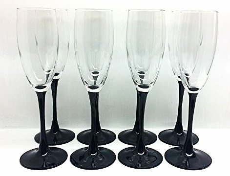 SET OF 10 VINTAGE 2 TONED CHAMPAGNE FLUTE GLASSES