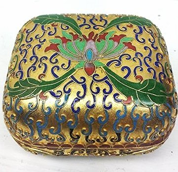 VINTAGE EARLY 1900'S GOLD TONED CLOISONNE BOX