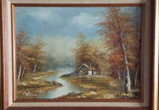 "VINTAGE SIGNED OIL PAINTING ON CANVAS "" CAINE"""