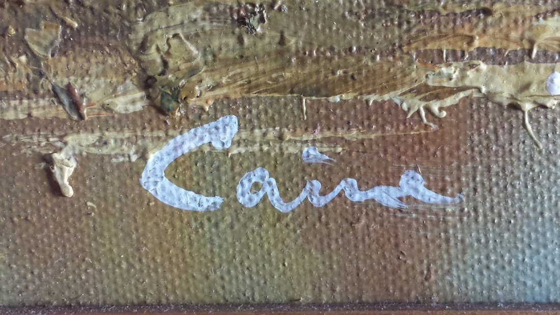 "VINTAGE SIGNED OIL PAINTING ON CANVAS "" CAINE"" - 3"