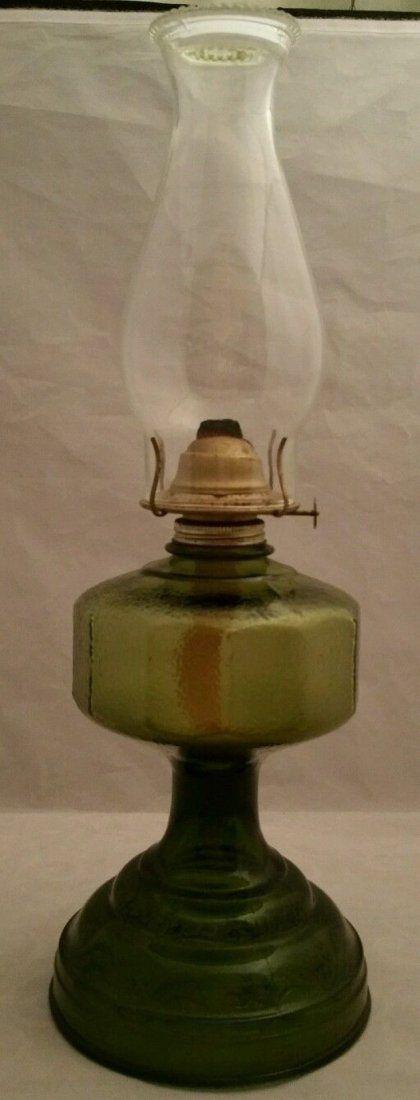 Vintage Green Depression Glass Eagle, Antique Green Depression Glass Oil Lamp