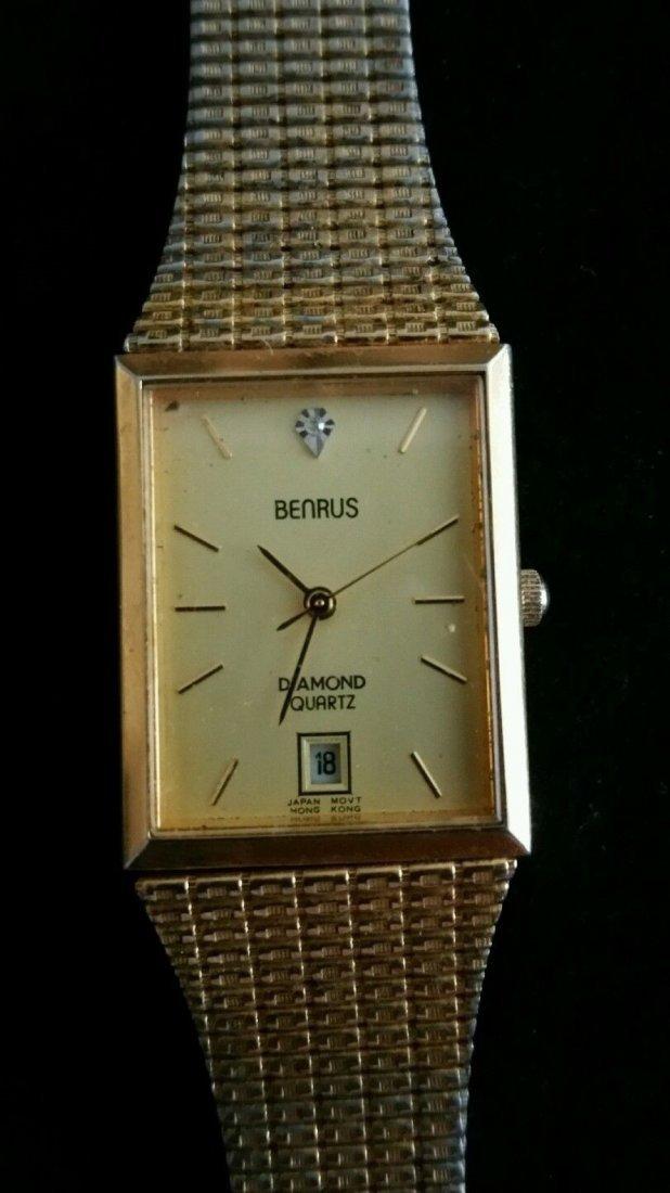 Vintage Mens Benrus Diamond Quartz Japan Movement Watch - 3
