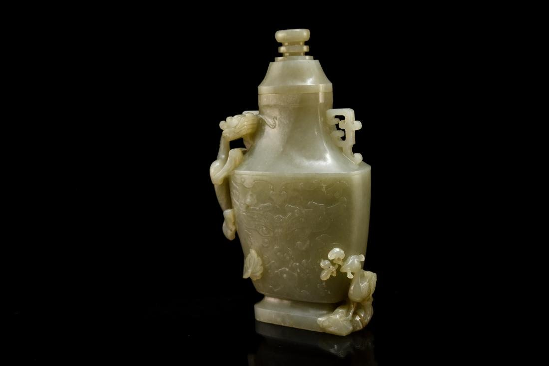 DRAGON AND FLORAL COVERED JADE VASE - 7