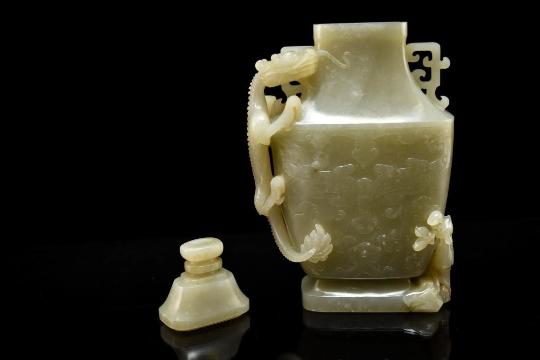 DRAGON AND FLORAL COVERED JADE VASE - 8