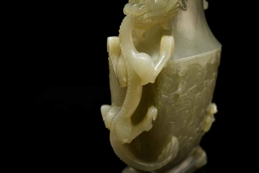 DRAGON AND FLORAL COVERED JADE VASE - 9