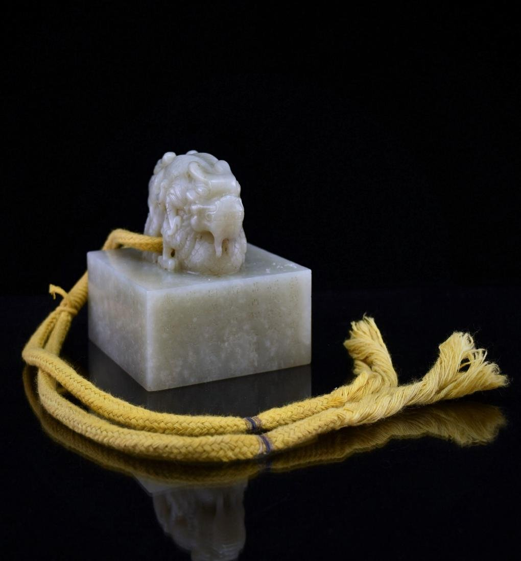CHINESE DOUBLE DRAGONS SQUARE JADE SEAL
