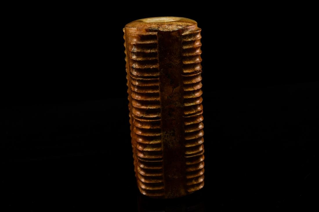 REDDISH BROWN JADE CONG INCENSE BURNER ON STAND - 10