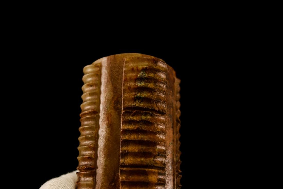 REDDISH BROWN JADE CONG INCENSE BURNER ON STAND - 12