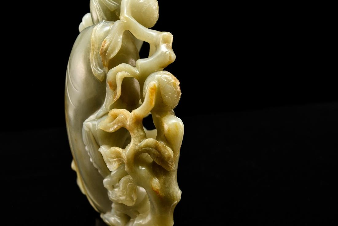 FINE CARVED CHINESE JADE OF SHUOLAO ON STAND - 16