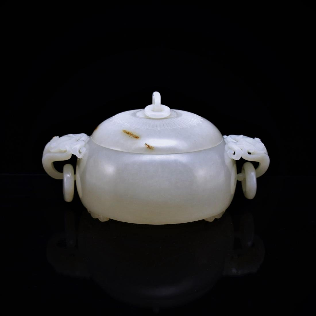 JADE COVERED CENSER WITH FREE RINGS