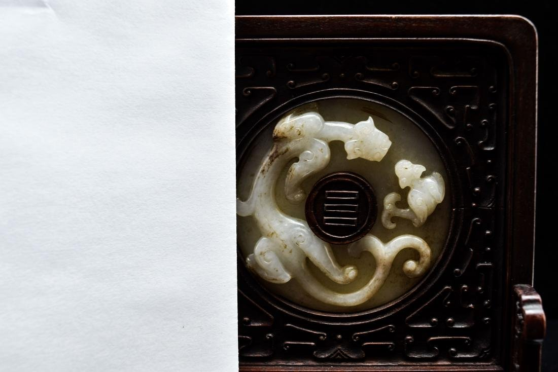 DOUBLE TAILED TIGER JADE TABLE SCREEN - 10