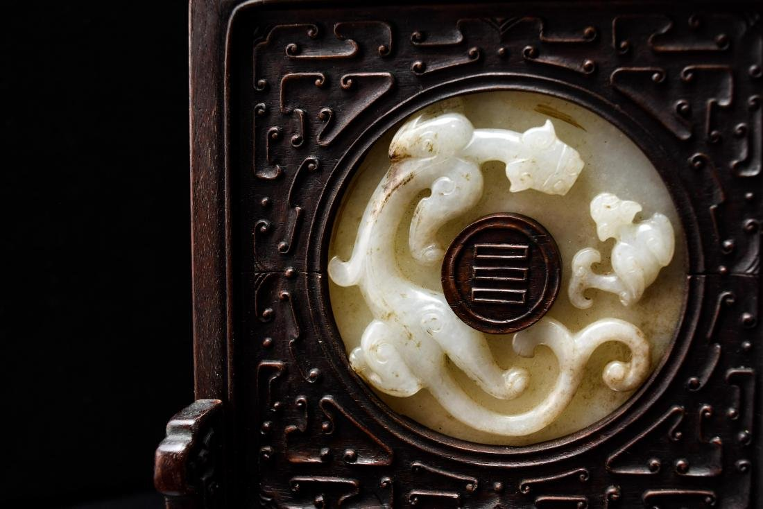 DOUBLE TAILED TIGER JADE TABLE SCREEN - 11