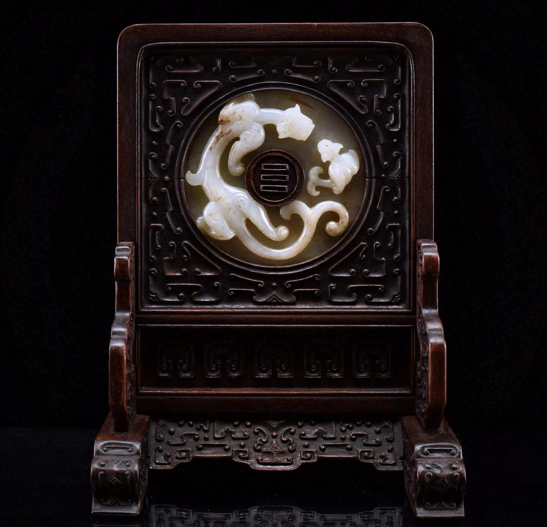 DOUBLE TAILED TIGER JADE TABLE SCREEN