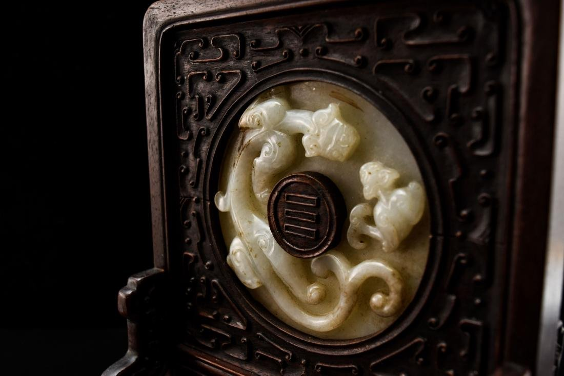 DOUBLE TAILED TIGER JADE TABLE SCREEN - 7