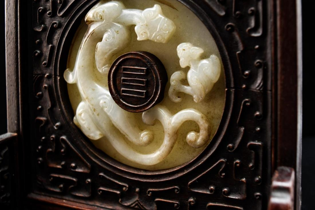 DOUBLE TAILED TIGER JADE TABLE SCREEN - 9