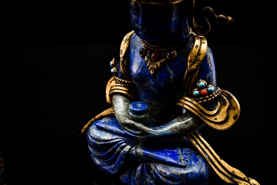 HARD STONES INLAID GILT BRONZE LAPIS LAZULI BUDDHA - 17
