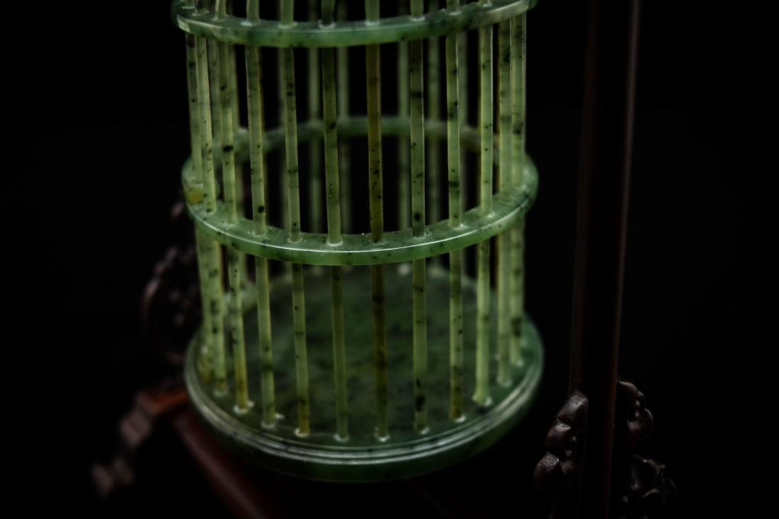 CHINESE HANGING GREEN JADE CRICKET CAGE - 11