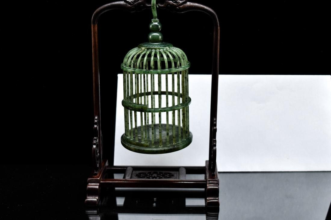 CHINESE HANGING GREEN JADE CRICKET CAGE - 12