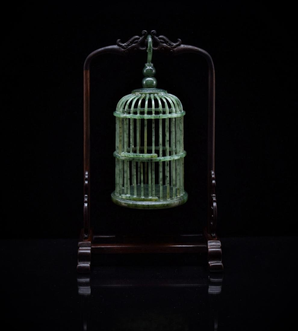 CHINESE HANGING GREEN JADE CRICKET CAGE