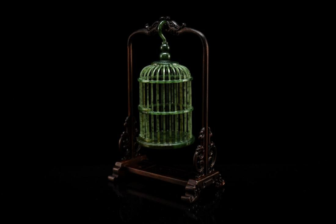 CHINESE HANGING GREEN JADE CRICKET CAGE - 2